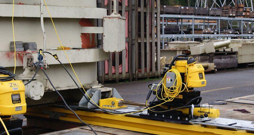 Manutention à l'aide du Skidding System par l'entreprise de transport presti sud